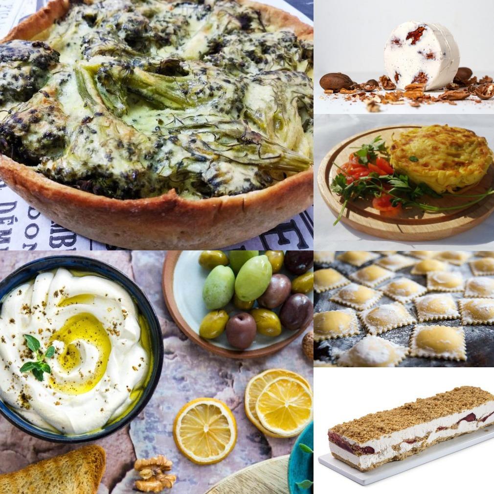 חבילת מאפים משפחתית הכוללת 10 מוצרים!! מאפים, בורקס, גבינות מאגוזים, רביולי, קציצות ירק, עוגת מוס